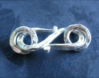 Solid Sterling Silver S - Hook Clasp with closed jump rings - 17mm X 12mm