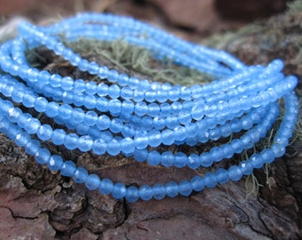 2mm blue chalcedony faceted stone beads tiny 12 inches