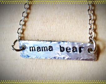 ManaBear silver aluminum necklace Mothers day mom hand cut and stamped metal work just plain Jane designer fun fresh Totally Hammered