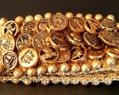 Cuff Bracelet with Many Buttons on an Elastic Band