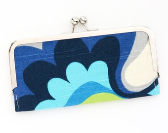 Blue Mod Floral Cell Phone Wallet Clutch with Kisslock Frame Closure in Retro 60's Inspired Printed Cotton