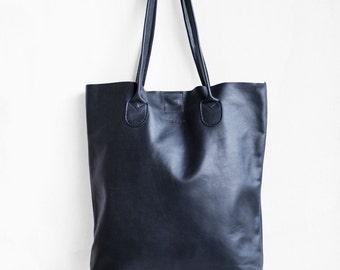 Black Essential Tote/Leather Tote Bag/Black Bag/BlackTote Bag/Women's Handbag/Black Tote/Black Leather Shopper/Tote purse/laptop bag