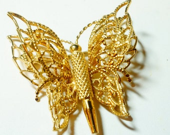 Signed Monet Butterfly Brooch, Golden Butterfly Pin, Ladies Vintage Jewelry
