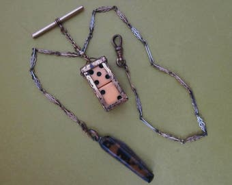 Vintage Watch Chain with Dice and Folding Knife