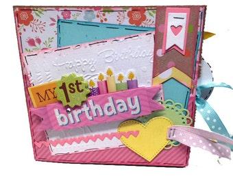 First Birthday Scrapbook - Girl's 1st Birthday - Mini Birthday Girl Scrapbook - First Birthday Paper Bag Album