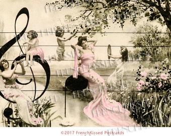Musical Montage G Treble Clef Art Nouveau French Antique Postcard Digital Download