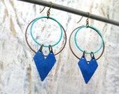 Patina earrings - Gift for her - Hipster earrings - blue earrings - chevron earrings - boho style - double hoop earrings - bohemian jewelry