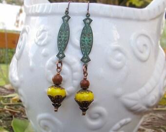 Rustic yellow earrings Patina dangle earrings Fall boho bohemian jewelry