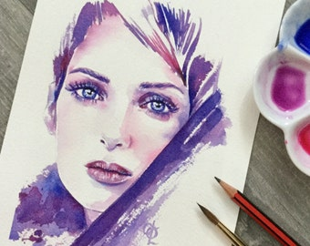 Winona Ryder original watercolour painting in pink and purple
