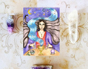 Occult Art Medea Priestess of Hekate Prayer Card Greek Mythology Goddess Fantasy Art Mystical Witchcraft Divine Feminine Sacred Spiritual