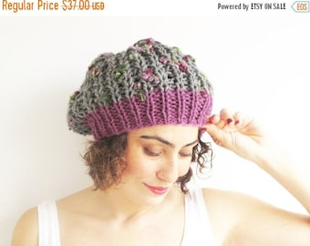 20% WINTER SALE Gray - Pink Slouchy Hat by Afra