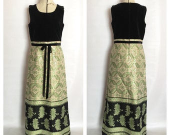 1960's Velvet and Green with Silver Brocade Maxi Dress Renaissance Holiday Dress Aztec Ethnic Print