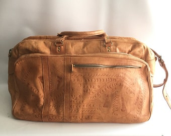 Tooled Leather Duffle Bag Natural Tan Overnight Bag Travel  Luggage All Leather Coachella Bohemian Road Trip