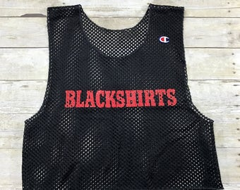 Vintage 1990s 90s Champion Blackshirts Crop Top Mesh Warmup Jersey Mens Sportswear Size Large