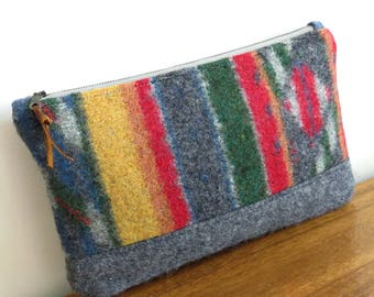 Navajo Pattern Wool Clutch, Large Wool Clutch, Upcycled Sweater Wool Purse