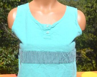 vintage 80s women's tank top STRIPE teal henley cotton surf t-shirt Small Medium