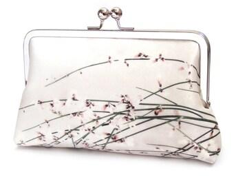 Clutch bag, flower blossom silk purse, floral, wedding purse, bridesmaid gift