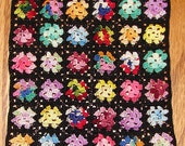 Crochet Dollhouse Afghan Miniature Granny Square Variegated Centers