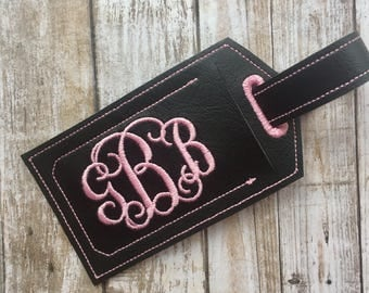 Monogram luggage tag - personalized luggage tag - faux leather luggage tag - groomsman gift - bridesmaid gift