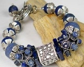 Lapis Beaded Bracelet, Thai Karen Silver Beaded Bracelet, Sterling Silver And Lapis, Matte Lapis, Chunky Bracelet, Rustic- Blue Monday