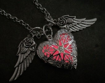 Flying Heart Glow Locket ® with Rose Wings Magic Glow in the dark Jewelry Necklace