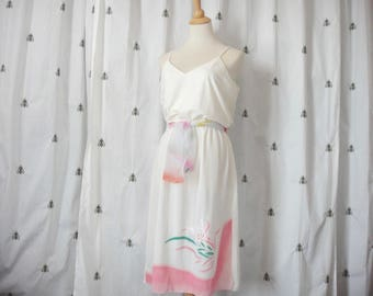 Vintage Summer Midi Dress, Off White with Pink and Green and Appliqué Butterfly, Spaghetti Straps, Scarf Belt, Size Large, Elastic Waist