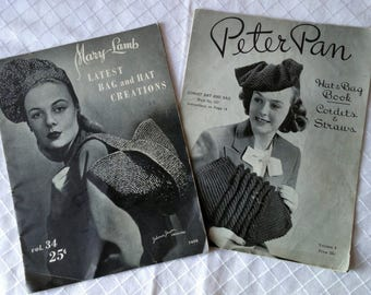 Vintage Crochet Patterns, Peter Pan Hat and Bag Book,Mary Lamb Bag and Hat Creations