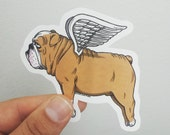Flying Bulldog Die Cut Vinyl Sticker