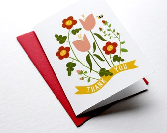 Thank You Flowers Greeting Card illustration floral stationery