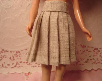 Blythe Linen Pleated Skirt for Pullip and Vintage Skipper Too!