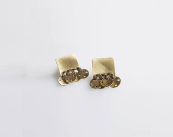 Modern Ethnic Earrings, Post Earrings, Brass Jewelry, Brass Earrings, Contemporary Jewelry, Original Jewelry