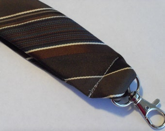 """Recycled Necktie 4.5"""" Key Fob Brown and Blue Stripes"""