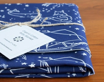 Constellations Baby Blanket; Organic Cotton Blanket Present; Handmade Baby Gear; Night Sky Baby Shower Gift; STARS of the SEA (Last One)