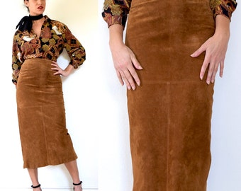SPRING SALE/ 20% off Vintage 80s 90s High Waisted Burnt Sienna Brown Suede Leather Midi Pencil Skirt (size xs, small)