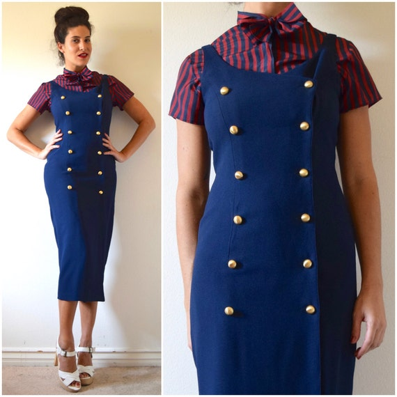 Vintage 90s does 60s Navy Blue Double Breasted Hourglass Silhouette Wiggle Dress (size small, medium)