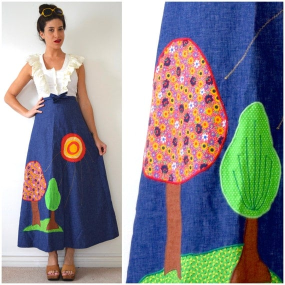 Vintage 70s Two Trees Appliqued Denim Chambray A Line High Waisted Wrap Around Maxi Skirt