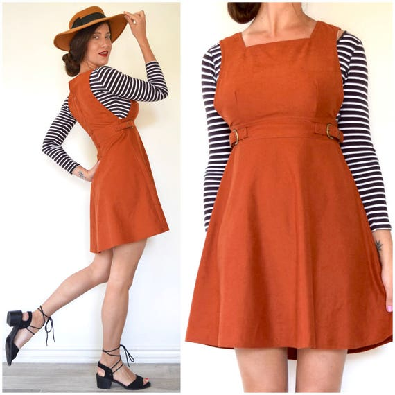 SPRING SALE/ 20% off Vintage 60s 70s Rust Orange Jumper Mini Dress (size xs, small)