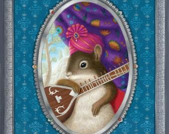 Squirrel Animal Painting Art Original Illustration Whimsical Nature Ornate Decorative