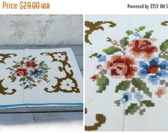 ON SALE 20% Vintage Tyrol Austria East Europe handmade folk embroidered cross stiched pillow case / floral pattern / cotton