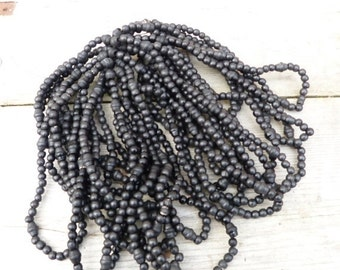 ON SALE 20% Vintage  Antique 1900 French Victorian hank of round black wood beads to make rosarys