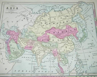 Vintage Antique Asia Map 1866 Monteiths 12818