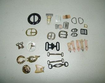 Lot of 34 Vintage Buckle Buckles Belt Mother of Pearl Shell Plastic Metal 13126