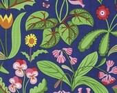 HALF YARD - Jane Sassaman Fabric,Enchanted, Millefleur, Red, Blue, Cotton, Floral