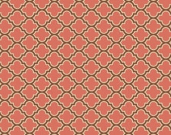 YARD - Joel Dewberry Fabric, True Colors Collection, Lodge Lattice in Salmon, cotton quilting fabric -  SALE