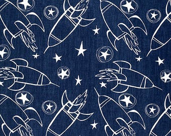 David Walker Fabric, Jeans & Things Collection, Spaceships in Indigo Blue White, Children's Print