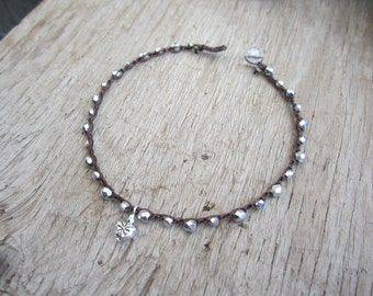 Silver heart crocheted anklet, boho, natural jewelry