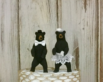 Bear Wedding Cake Topper, Animal Cake Topper, Woodland Cake Topper, Forest Cake Topper, Rustic and Shabby Chic