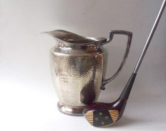 Vintage Hammered Nickel Silver Pitcher, WM Mounts Holman Plate, Golf Trophy