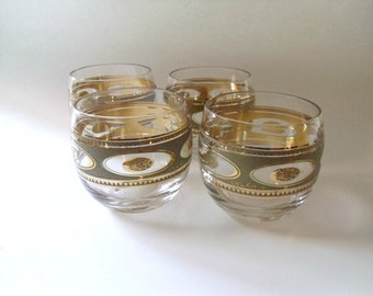 4 Vintage Culver Regency Glasses, Roly Poly Cocktail Tumblers, Green with Gold Trim, Mid Century Barware