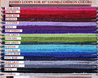 Jumbo Cotton Loops COLORS! Potholders sock loopers MADE in USA!    Recycle! Weave rugs, hotpads, coasters, purses, mats.